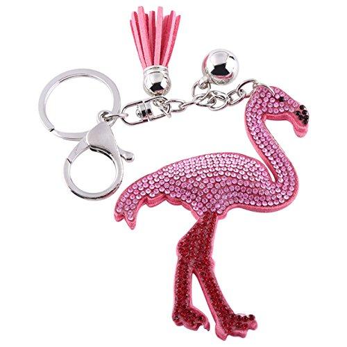Lalang Rosa Flamingo Schlüsselanhänger Taschenanhänger mit Quaste Handtasche Anhänger Troddel Keychain