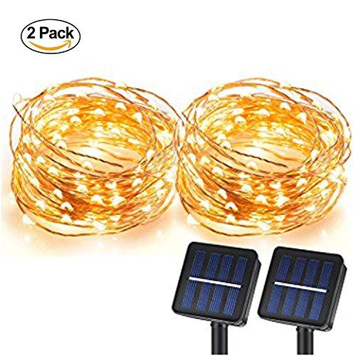 [Pack de 2] Lumières Solaires de Corde, lumières de chaîne de 100 LEDs, lumières solaires de fil de cuivre Éclairage ambiant pour l'extérieur, jardins, maisons, danse, partie de Noël