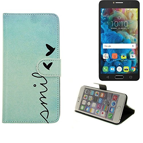 K-S-Trade Für Alcatel One Touch Pop 4S Hülle Wallet Case Schutzhülle Flip Cover Tasche bookstyle Etui Handyhülle ''Smile'' türkis Standfunktion Kameraschutz (1Stk)