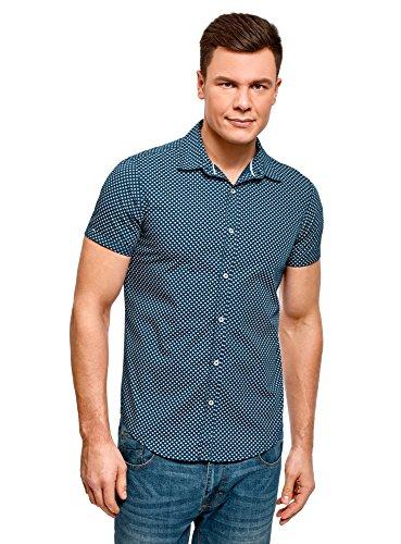Oodji ultra uomo camicia stampata a maniche corte, blu, 42.5cm/it 50-52/eu 52-54/l