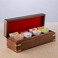 rusticité Thé/Épices en bois boîte de rangement avec couvercle et 8poches Fait main | | (30,5x 11,4cm)