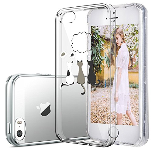 Coque iPhone 5/5S/SE,Vanki® Housse Transparente Etui Silicone Flexible Lisse Housse TPU Souple Etui de Protection Silicone Case Soft Gel Cover Anti Rayure Anti Choc pour Iphone 5/5S/SE Pensée