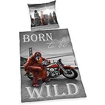 Herding 4459202050412 Born to be wild ropa de cama, funda de almohada, 80 x 80 cm y funda de edredón, 135 x 200 cm, diseño de