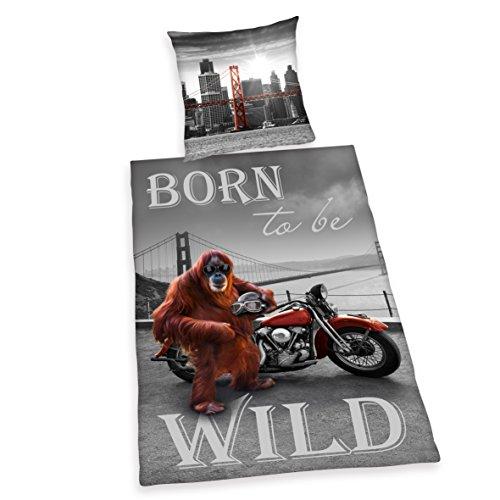 Herding 4459202050412 Bettwäsche Born to be wild, Kopfkissenbezug, 80 x 80 cm und Bettbezug, 135 x 200 cm, renforce