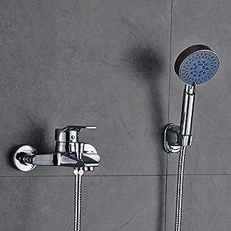 Auralum Grifo de la bañera de latón con ducha con ducha de mano Baño montado