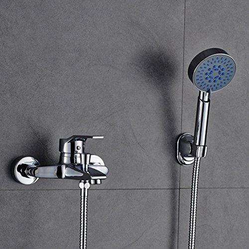 Auralum - Einhandmischer Duscharmatur mit Brausekopf und Brausehalterung, Chrom