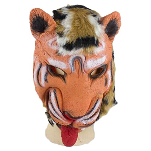TREESTAR Halloween Maske Tier Tiger Funny Horror Scary Grimasse Teufel Cosplay Party Maske Latex Kopfbedeckungen für Halloween, Spannende Party, Maskerade Party, Karneval Size 205g (Tiger)