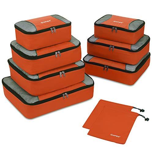 Gonex Organiseurs de Bagage Sacs Rangement de Valise Voyage 9 pcs Orange