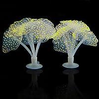 EMVANV Sucker Lifelike Coral Artificial Silicona Fluorescencia Ornamento Agua Paisaje Decoración Peces Tanque Acuario Accesorios