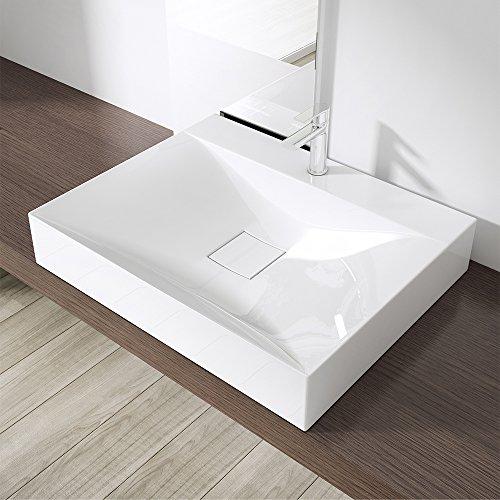Preisvergleich Produktbild BTH: 60x48x11 cm Design Waschbecken Colossum810, aus Gussmarmor, Waschtisch, Waschplatz
