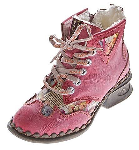 Leder Damen Winter Stiefeletten Comfort Knöchel Schuhe TMA 5171 Rot Boots gefüttert Gr. 39