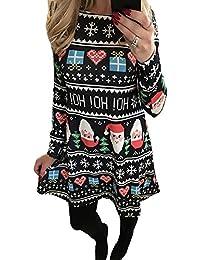 b268b3fd72 Minetom Mujeres Niñas Navidad Vestido Blusas Mangas Largas Ropa Impresión  Calabaza Nieve Camiseta Camisa Tapas Ocasionales…