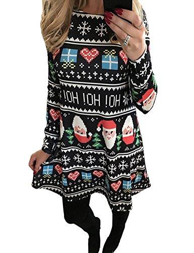 Minetom Damen Weihnachtskleid Rundhals Xmas Socken Drucken Ausgestelltes Midikleid Frauen Mädchen Weihnachten Kleid Santa Claus Print Swing Mini Kleid Stil 3 DE 48(Mama) (Claus Mädchen Für Santa Kleider)