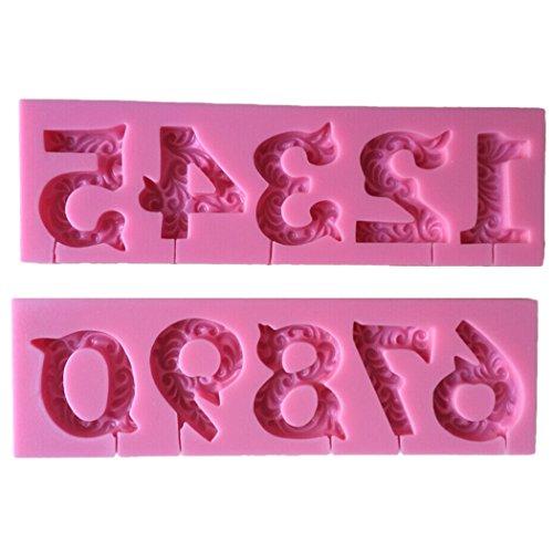 Karen Baking 0-9 Zahlen Geformt 3D Silikon-verzierender Schokoladen-Kuchen-Form-Fondant-backendes Werkzeug-Rosa
