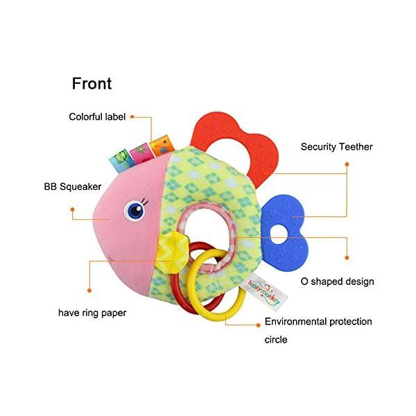 Beito 1Pcs Newborn Infant Baby Soft Plush Toy Lovely Teether Rattle Teething Toys(Monkey)