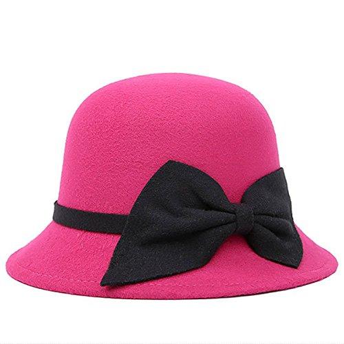 Butterme Vintage Cloche Kappen Eimer Hüte Runde Bowler Hat Fedora Derby Hüte mit großen Bogen für Frauen Damen (Heißes Rosa)