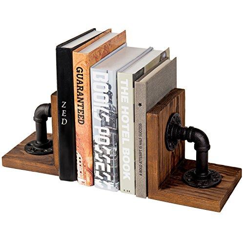 MyGift Industrial-Style Rohr & Rustikal Holz Tisch Buchstützen, Set von 2 -
