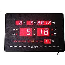 Reloj Pared Calendario Digital SD-0031 Alarma Temperatura + Soporte para Mesa