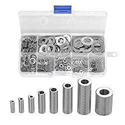 Flat Washer, Muscccm 8 Sizes Washers Assortment Set Stainless Steel Flat and Lock Washer (M2 M2.5 M3 M4 M5 M6 M8 M10)