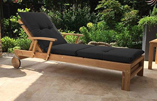 GRASEKAMP Qualität seit 1972 Gartenliege Teak mit Kissen Anthrazit Liegestuhl Sonnenliege Relaxliege