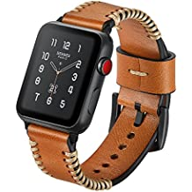 SUNKONG Apple Watch Bracelet en Cuir Véritable, iWatch Bracelet avec Bords Cousus à la Main pour Apple Watch de Tous les Modèles, pour Bracelet Apple Watch 42mm (Marron)