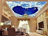 Yosot Benutzerdefinierte Größe 3D Tapeten Decke Zimmer Wandgemälde Foto In Herzform Cloud Sterne Mond Himmel Malerei Wandbilder Tapeten Für Wände 3D-200Cmx140Cm