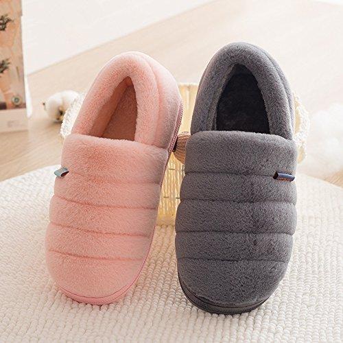 YMFIE Mesdames et messieurs coton chaud hiver chaussures chaussons chaussures matelassé H