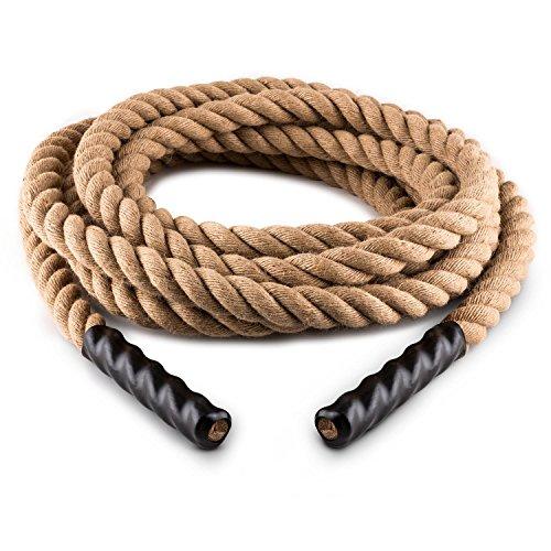 Capital Sports Power Tower • Battle Rope • Power Rope • Fitness Rope • Schwungseil • für Sprung- & Kletterübungen • Tauziehen • Material: natürliche Hanffaser • dreischlägig • Durchmesser: 3,8cm • Seilenden ummantelt • Modelle: 12m