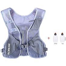AONIJIE ligero al aire libre senderismo hidratación mochila maratón chaleco escalada ciclismo Mochila con 2pcs botellas de 250ml, gris