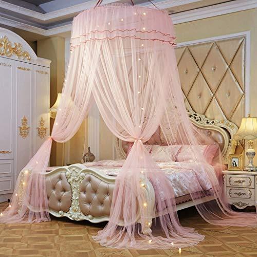 Elegante Prinzessin Dome Bed Moskitonetz, 3 Öffnungen Bett Canopy Netting  Vorhänge Für Queen Size Bett Zimmer Dekoration Mit Lichterketten,Pink
