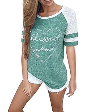 ❤️ Mujeres Camiseta,Las Mujeres de Moda de Manga Corta de Empalme de La Blusa Tops Ropa Camiseta Absolute