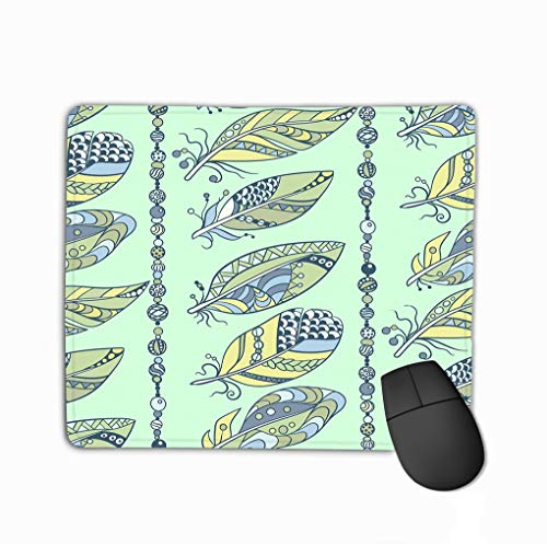 Mousepad Non Slip Rubber Personalized Unique Gaming Mouse Pad 11.81 X 9.84 Inch Seamless Feathers Beads Vertical Pattern Abstract ornamen Ornament Style Arine Lemon Blue Colors Graphic