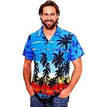 King Kameha   Funky Camicia Hawaiana Da Uomo   XS - 12XL   Maniche Corte   Tasca Frontale   Stampa Hawaiana   Spiaggia Palme   Blu