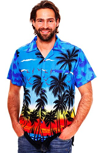 Funky Hawaiihemd, Beach, Blau, 3XL