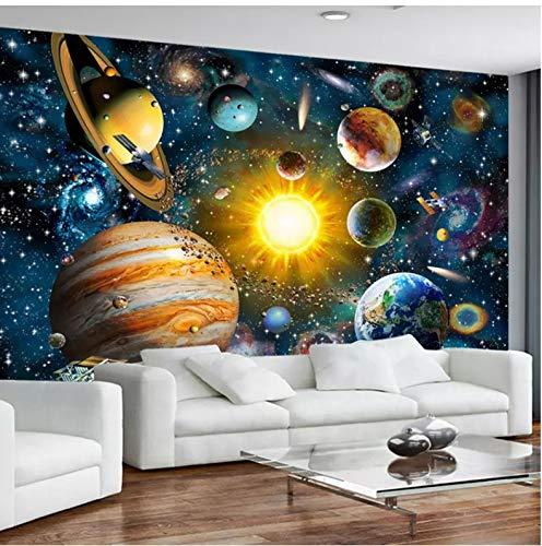 Benutzerdefinierte Jede Größe 3D Fototapete Moderne Handgemalte Cartoon Universum Star Sky Planet Kinderzimmer Seide Wandbild Hintergrund Dekor 400X280 Cm Planet Seide