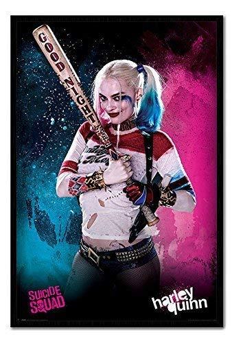 (Suicide Squad Harley Quinn Poster Kork Pinnwand, schwarzer Rahmen, 96,5x 66cm (ca. 96,5x 66cm))