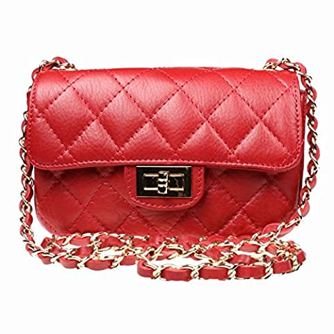 Beautiful Italian Leather Quilted Designer Style Classic Small Handbag with Gold (Red)