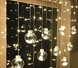 BLOOMWIN 3*0.65M Kugel Lichtervorhang Warmweiß 8 Modi, 120 LED IP44 220V Ball Curtain Light Weihnachtsbeleuchtung für Wand, Fenster, Schaufenster, Balkon, Korridor, Terrasse, Diele, Weihnachten, Hochzeit