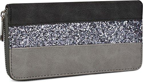 styleBREAKER Geldbörse mit Quer verlaufendem Pailletten Streifen, umlaufender Reißverschluss, Portemonnaie, Damen 02040057, Farbe:Schwarz/Grau -