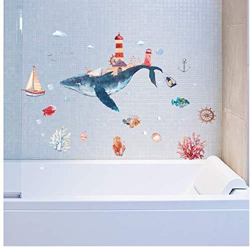 Mondo subacqueo Whale City Acquerello Adesivi murali bambino Vetro Wndow Adesivi murali bagno Per camerette Decorazioni per la casa Murale 138 * 101 Cm