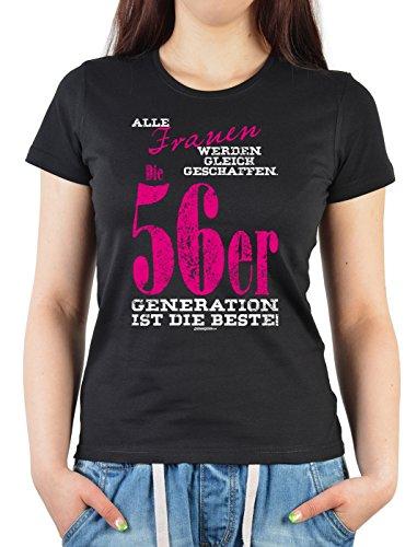 Girlie Shirt ::: Frauen die 56er Generation ::: witziges Geburtstagshemd Schwarz