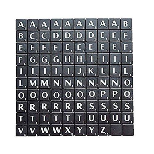 9cm-Zeichensätze Fliesen Schwarz mit weißen Buchstaben-Perfekt für Ersatz, Arts & Craft, Board Games, Scrapbooking, Buchstabieren, Wand-Kunst, Rätsel Schwarz ()
