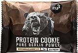 nu3 Galleta de proteína | 12 x 75g | Delicioso sabor chocolate blanco y almendras | 39g de proteína por galleta | 60% menos carbohidratos que en los bizcochos normales | Postre ideal para deportistas