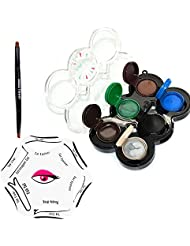 Lover Bar 6 Colour Gel Eyeliner Kit with Makeup Angled Eyebrow Brush Set 6 Styles in 1 Smoky Cat Shaping Eye Liner Stencil-Beauty Cosmetic Waterproof