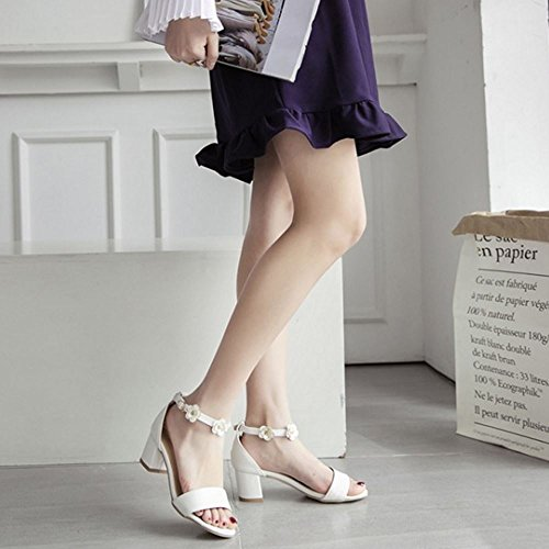 COOLCEPT Damen Mode Knochelriemchen Sandalen Open Toe Blockabsatz Schuhe Blume White