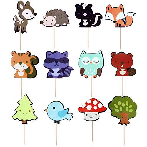 BESTOMZ Woodland Creatures Cupcake Toppers Waldtiere Freunde Kuchen Toppers Picks für Geburtstag Hochzeit Party Decor, 36 zählt - Geburtstag Cupcake