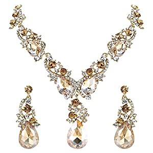 Clarine Damen Hochzeit Braut Kristall Multi Tropfen Cluster Statement Halskette Dangle Ohrringe Set