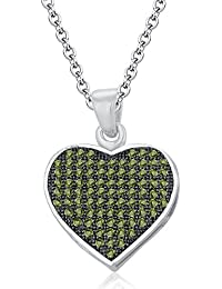 Silvernshine LADIES 10K WHITE GOLD FN PERIDOT SIM DIAMOND LOVE HEART SHAPE PENDANT NECKLACE