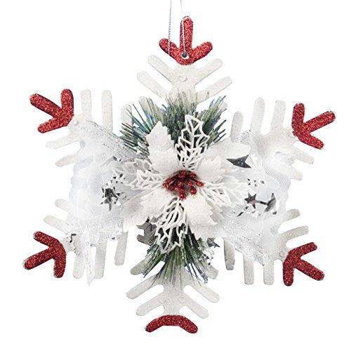Takefuns puntale per albero di natale grande fiocco di neve da appendere decorazione da giardino da parete per porte e finestre party festival bianco natale ornamenti, plastica, white, bianco