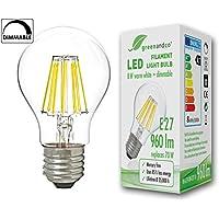 Lampadina a filamento LED greenandco® dimmerabile E27 8W (equivalente a 70W) 960lm 2700K (bianco caldo) 360° 230V AC Vetro